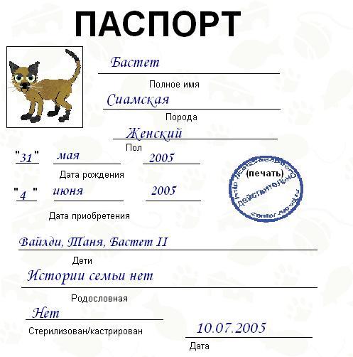 как заполнять паспорт кошки образец - фото 8